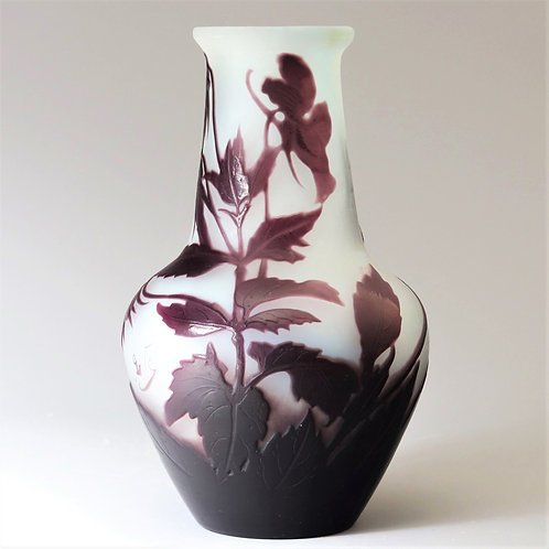 Gallé Cameo Glass Vase With Woodland Flowers c1900