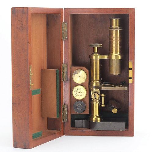 Mahogany Cased Monocular Microscope by Baker c1870
