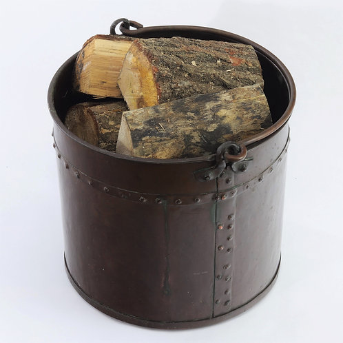 Early 19th Century Age Patinated Antique Copper Log Bucket