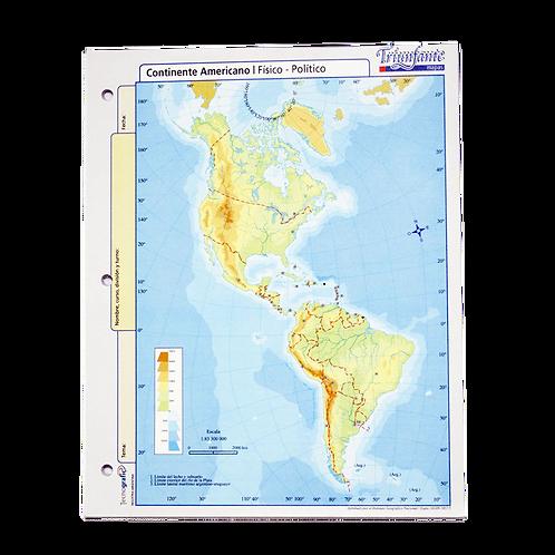 Cod. - 16801 - Block Mapa Cont Americano Fisico/Politico N°3 1571