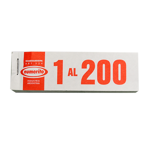 NUMERITO GUARDARROPA/RIFA 1 AL 200