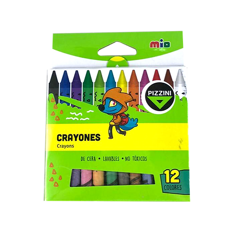 Crayones X12 Lavable pizzini 9312