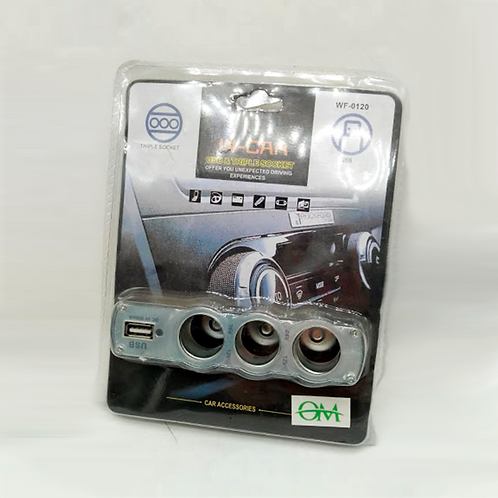 Cargador Encendedor Triple +Usb Wf-0120
