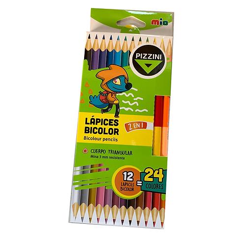 Lapiz Bicolor Triangular 24 Colores pizzini Lml4712
