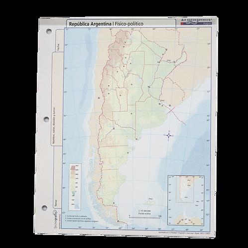 Cod. - 16807 - Block Mapa Rep Argentina Fisico/Politico N°3 14918
