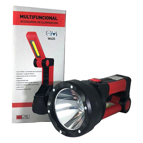Linterna Recargable Grande Roja W620