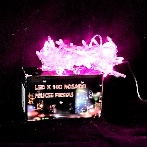 COD - 17759 LUZ LED X100 ROSADO CABLE TRANSPARENTE POL8