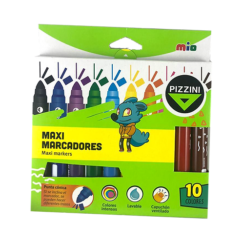 Marcadores Maxi Punta Conica 10 Colores pizzini 8110
