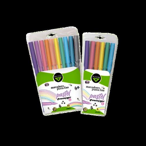 Marcadores Punta Fina 6 Colores Pastel 8006P