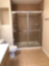 The master bathroom with walk-in shower is a nice feature at this Lake County rental