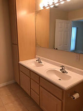 The master bath features a double sink in this Leesburg rental