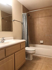 The hall bath has a bathtub for residents at this Lake County rental
