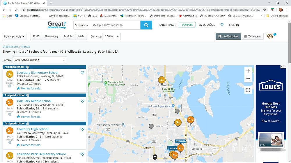 Greatschools.org gives info for my Leesburg rental property address