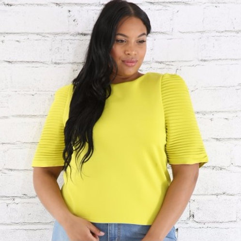 Curvy Women - Neon Pleated Sleeve Top
