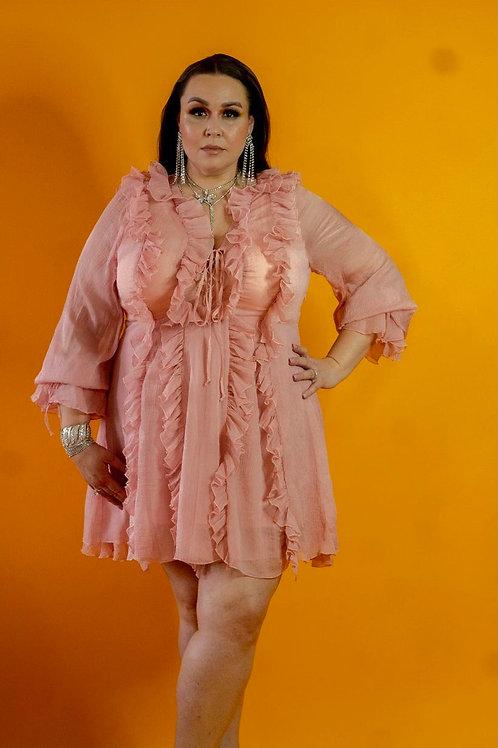 Blush Chiffon Mini Dress- Curvy