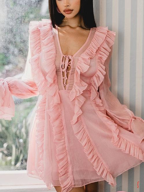 Blush Chiffon Mini Dress