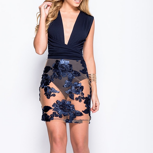 V Neck Embroidered Mesh Bottom Dress
