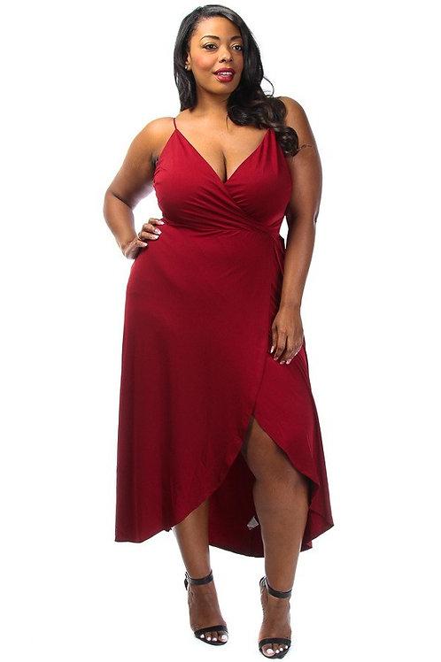 Surplice Maxi Spaghetti Strap Dress - Curvy women