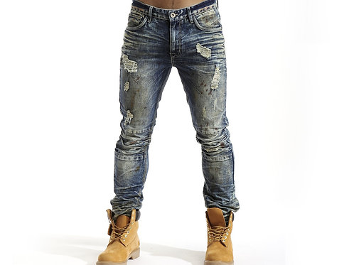 Denim Jeans With Pleated Knee