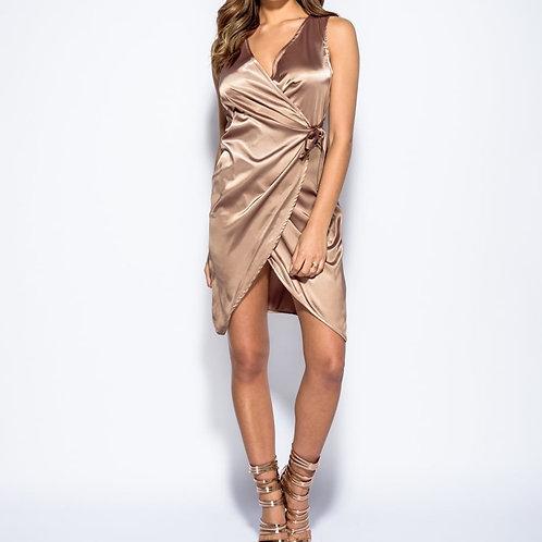 Satin Wrap Bow Dress
