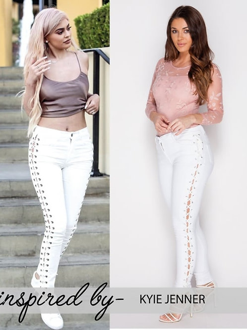 White Lace Up Detail Skinny Jean