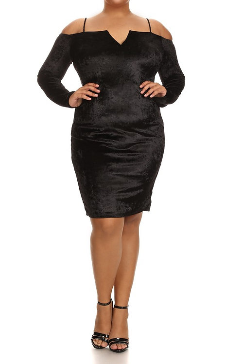 Velvet Bodycon Dress - Curvy women