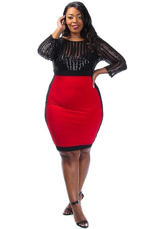 Sequin & Solid Panel Dress - Plus Size