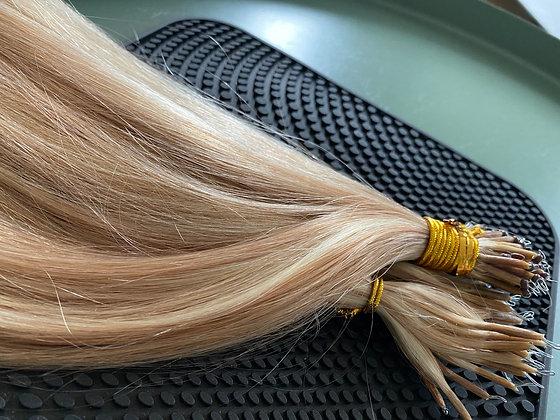 Nanoring punkter 50cm blond med striper