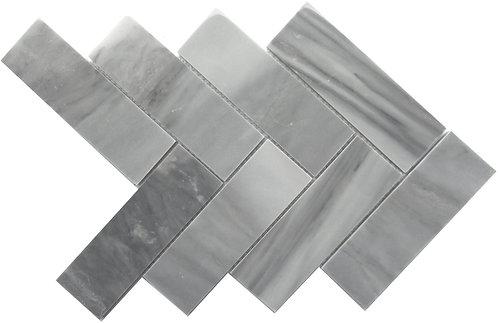 Cloudy Grey 2x6 Herringbone Marble Mosaic