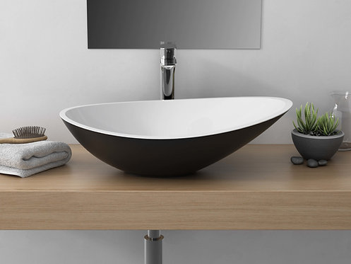CALMA CAVALLI VESSEL SINK WHITE/MATTE BLACK
