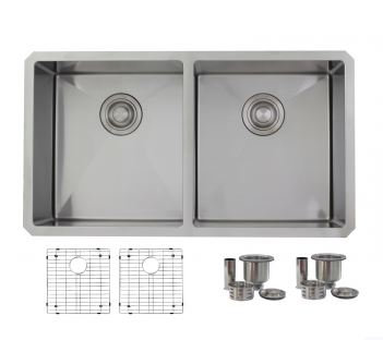 Zircon Kitchen Sink - Double Bowl - Stainless Steel
