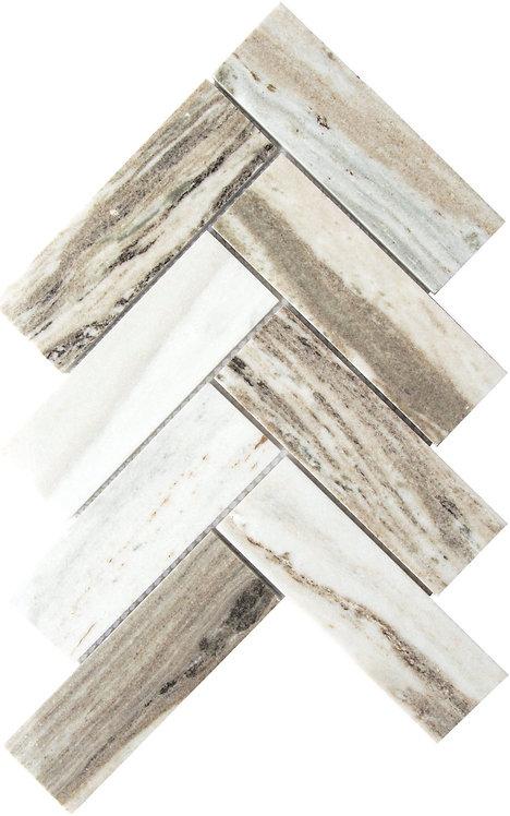 Palisandro 2x6 Herringbone Marble Mosaic