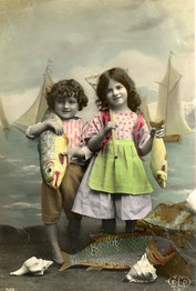 French hand colored Postcard