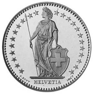 Helvetia on 2 CHF Coin