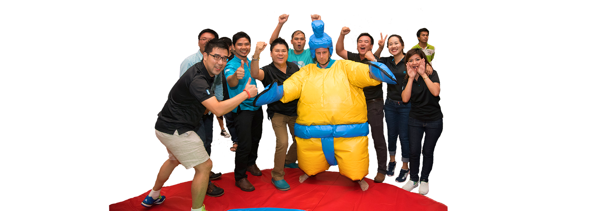 Sumo Wrestling competition is a fun and entertaining team building activity to be organized as part of a theme dinner or Christmas party.