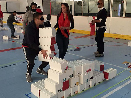 Team building activity with giant lego blocks