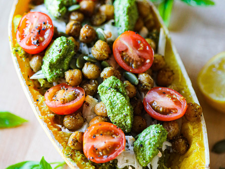 Spaghetti Squash with Garden Pesto and Roasted Curried Chickpeas