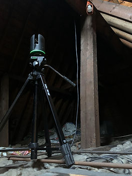 Leica BLK360 Scanner in use in residentail loft