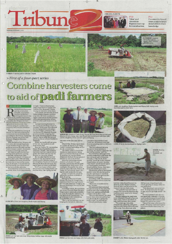Combine Harvesters come to aid of padi farmers