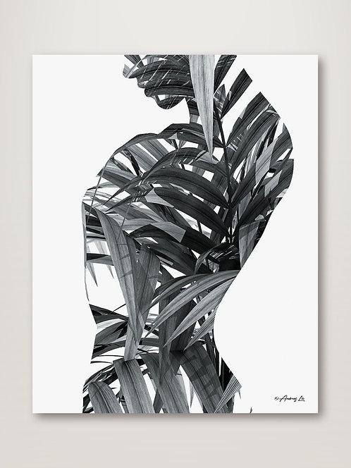 BW Palm Leaves Woman