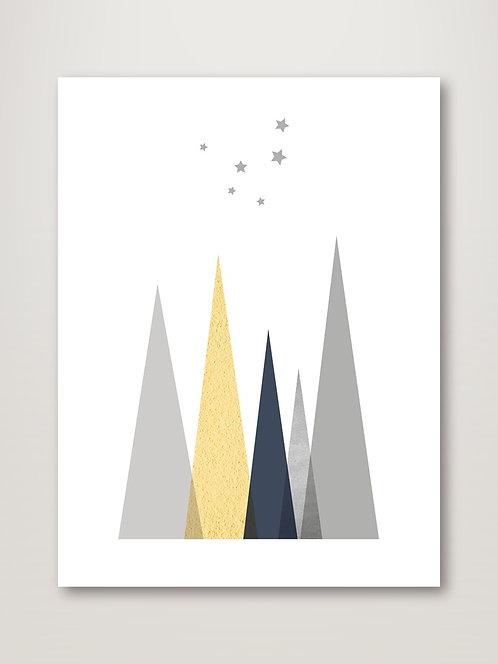Navy, Yellow Grey Mountains II