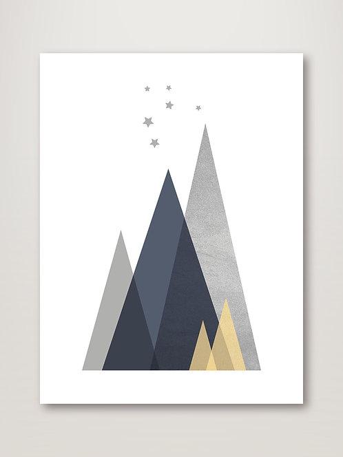 Navy, Yellow Grey Mountains I