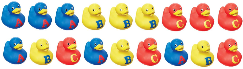Ducks in a row, with letters 'A', 'B' and 'C' on them