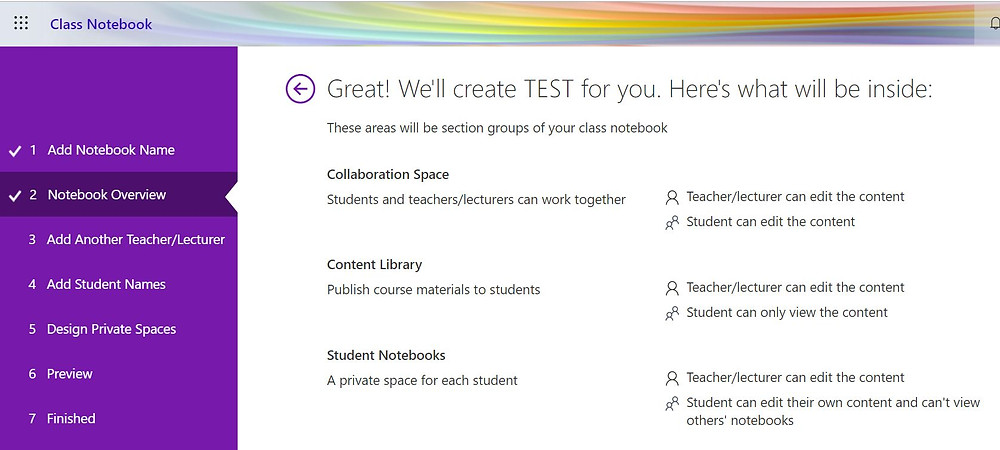 A screenshot showing the 'Wizard' that helps you to set up a OneNote classbook
