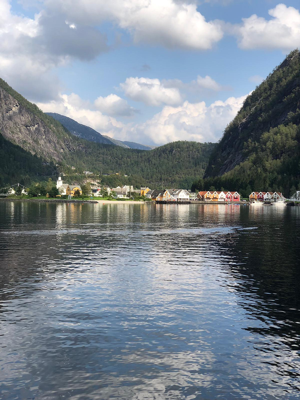 An image of a fjord, with a village in the background