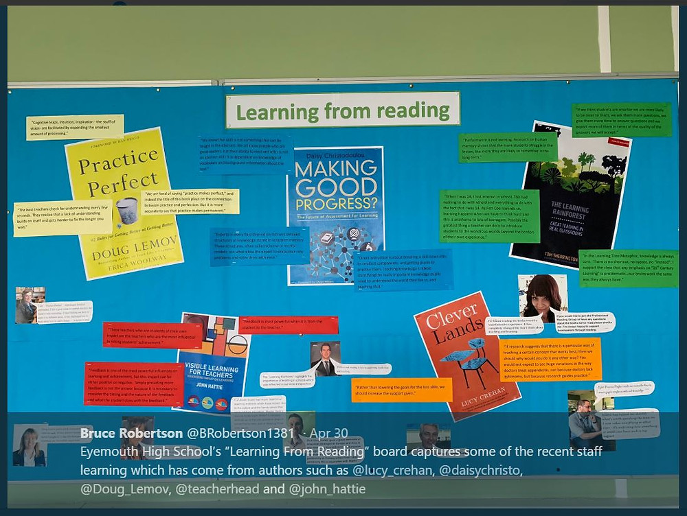 A reading board showing relevant CPD books on education