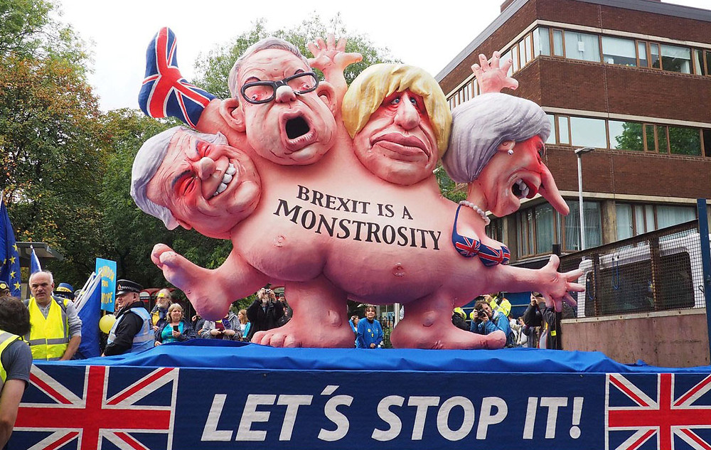 A procession with a 'Brexit monster'