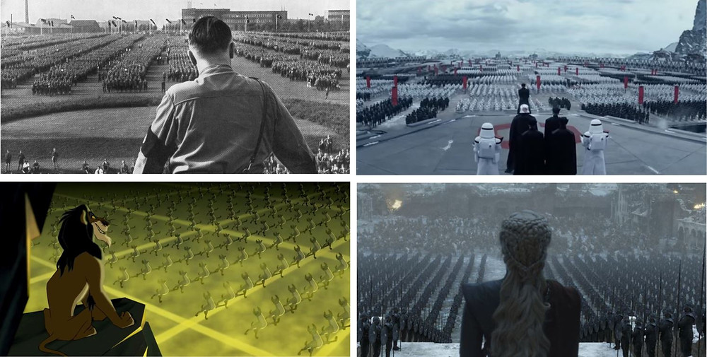A series of screen grabs from films and TV shows, in comparison to the real image of Hitler speaking to thousands of Nazi soldiers