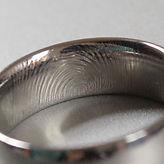 fingerprint ring, finger print ring, titanium engraved fingerprint ring