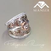 Silver and Rose Gold Filigree designed Ring.jpg